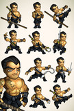 Set of 11 Ninja poses without a shirt