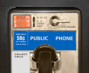 Old public pay phone, close up