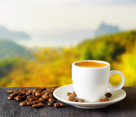 Cup of coffee on highlands background