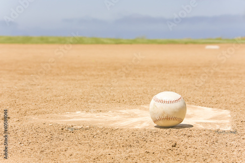 Baseball,home plate,infield and sky background