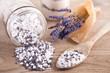 canvas print picture - Badesalz mit Lavendelblüten