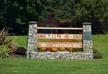 Mile 0, the beginning of highway 1 in Victoria BC, Canada