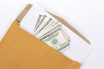 Brown Vintage and money Envelope with blank paper on white