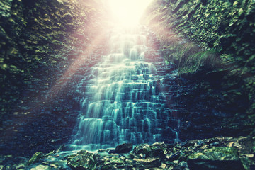 sunbeams waterfall