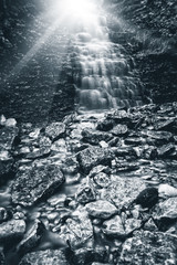 sunrays waterfall
