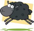 Funny Black Sheep Cartoon Mascot Character Jumping