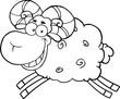 Black And White Ram Sheep Cartoon Mascot Character Jumping