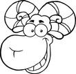 Black And White Ram Sheep Head Cartoon Mascot Character