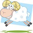 White Ram Sheep Cartoon Mascot Character Jumping