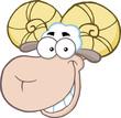 Smiling Ram Sheep Head Cartoon Mascot Character
