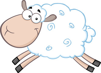 White Sheep Cartoon Mascot Character Jumping