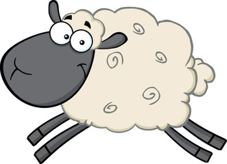Black Head Sheep Cartoon Mascot Character Jumping
