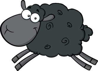 Black Sheep Cartoon Mascot Character Jumping