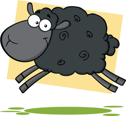 Funny Black Sheep Cartoon Mascot Character Jumping
