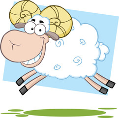 White Ram Sheep Cartoon Mascot Character Jumping