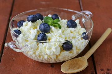 Fresh natural organic cottage cheese in a glass bowl