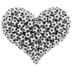Heart shape composed of many soccer balls isolated on white