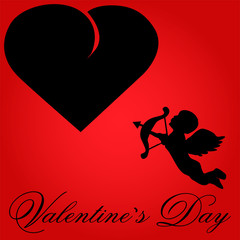 Valentine-Red Background with Black Heart & Cupid