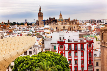 Cityscape Giralda Bell Tower Seville Cathedral
