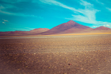 Desert and mountain on Altiplano,Bolivia