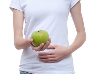 Body of girl with apple