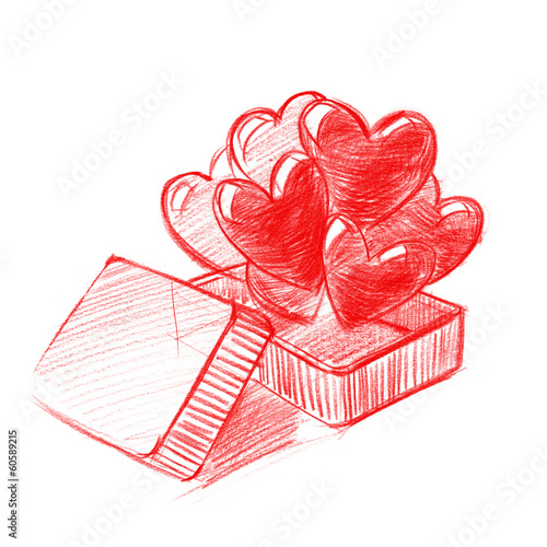 Red Box with Hearts, Sketch Drawing, illustration