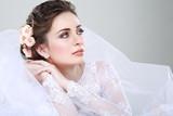 Portrait of beautiful bride. Wedding dress. Wedding decoration - Fine Art prints