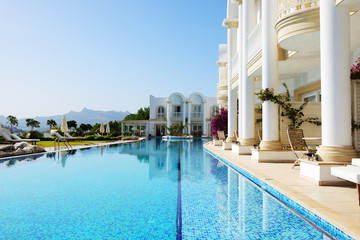 Swimming pool at luxury villa, Bodrum, Turkey