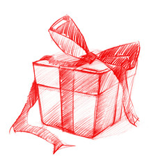 Box with Bow isolated on white, pencil drawing