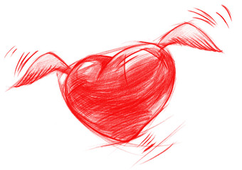 Flying Heart with Wings, Sketch Drawing