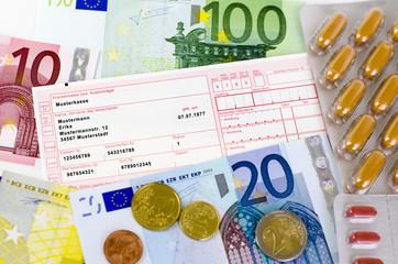 Arztrezept, Pillen und Euro-Geld