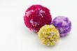 Leinwanddruck Bild - Pom poms, fluffy, decorative ball made from wool
