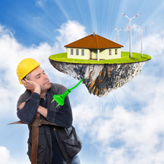 Construction worker dreaming. Modern technology concept.