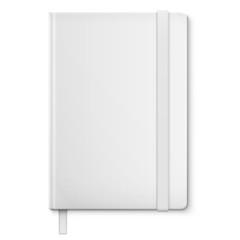 Realistic White Blank NoteBook With bookmark.