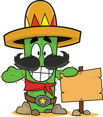 Happy Cartoon Cactus Holding Sign