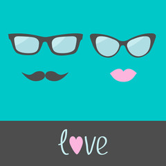 Glasses with lips and moustache. Flat design.