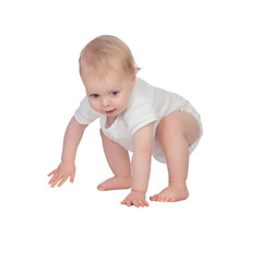 Adorable blonde baby in underwear crawling