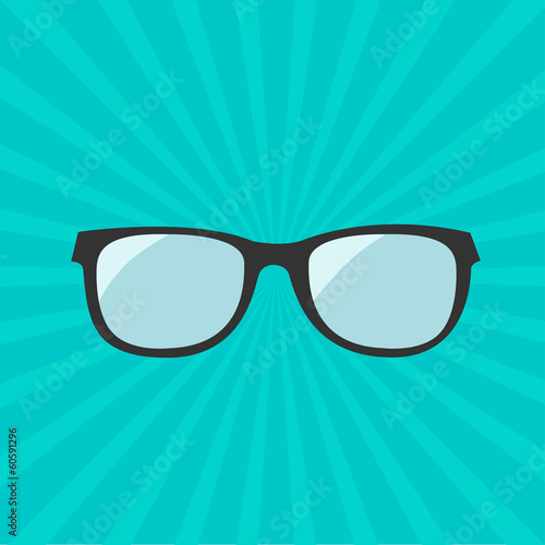 Glasses icon. Sunburst background.