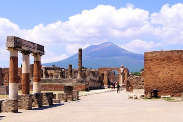 Mount Vesuvius through the ruins of Pompeii, Italy
