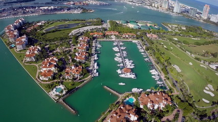 Aerial video of Fisher Island Miami Beach