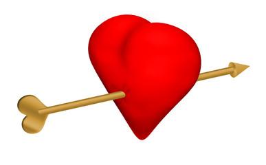 Cuore trafitto dalla freccia dell'amore