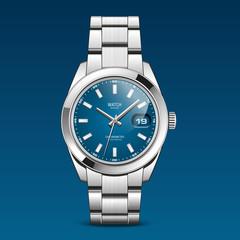 Montre bleue bracelet métal