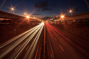 Abstract car in the tunnel trajecto