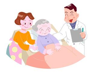 医師とベットのお婆さん