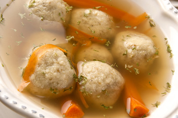 Traditional Matzah Ball Soup for Passover in Close
