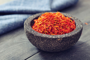 Saffron in stone bowl