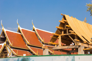 Construction of pavilion at a temple,Thailand