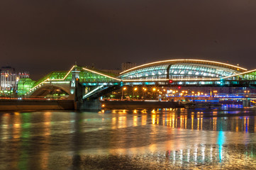 bogdan khmelnitsky bridge illuminated at night