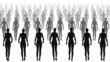 Silhouettes of women walking.
