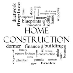 Home Construction Word Cloud Concept in black and white